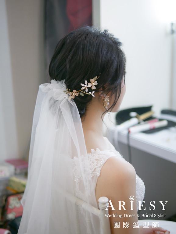 進場髮型,黑髮新娘造型,新娘編髮造型,自然妝感,新娘秘書