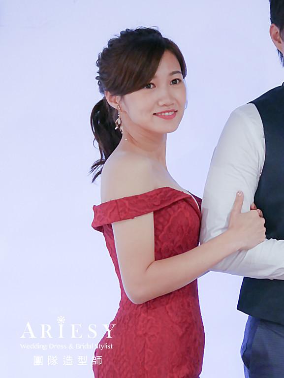 送客髮型,編髮馬尾造型,紅色禮服造型,新娘髮型,新娘秘書