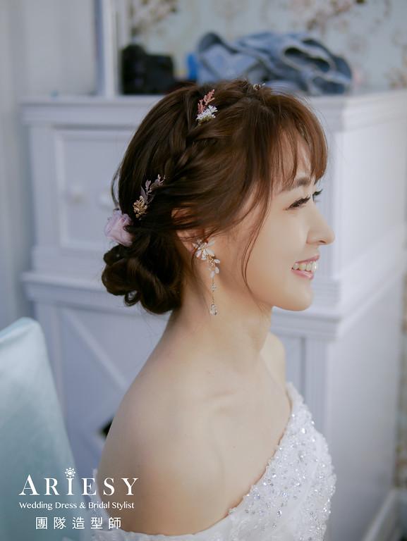 進場髮型,編髮花藝造型,新秘花藝,新秘,新娘編髮