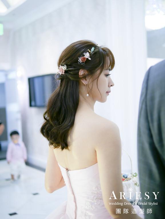 敬酒髮型,公主頭造型,粉色禮服造型,新娘秘書,新娘花藝