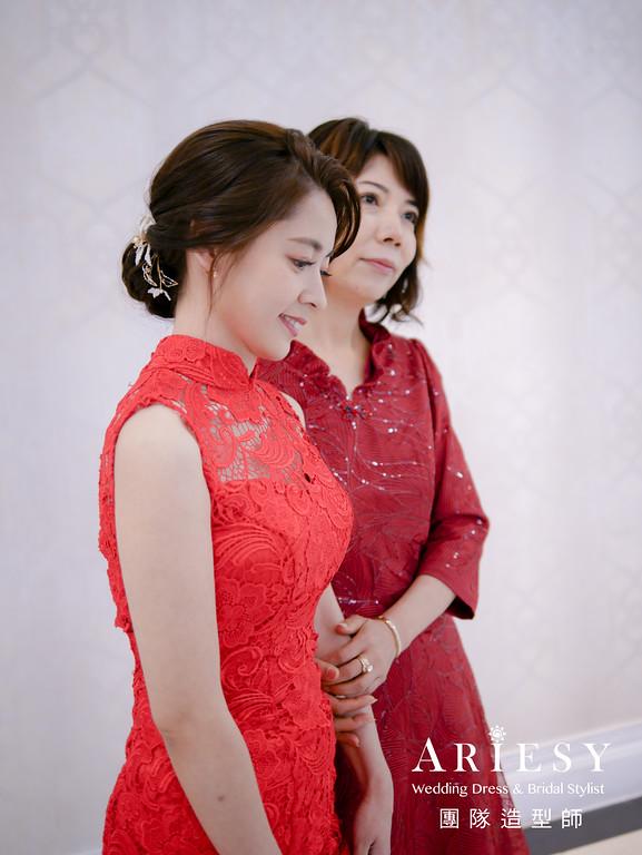 文定髮型,紅色旗袍造型,新娘秘書,編髮造型,新娘髮型