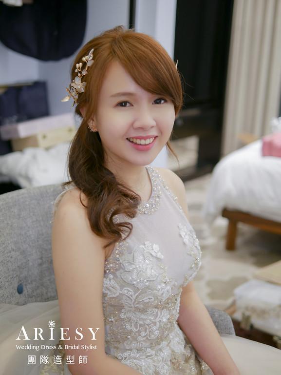 送客造型,新娘公主頭,新娘髮型,新秘花藝,新娘花藝髮型