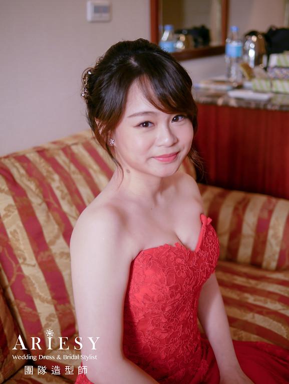 文定髮型,紅色禮服造型,新娘造型,新秘,編髮造型