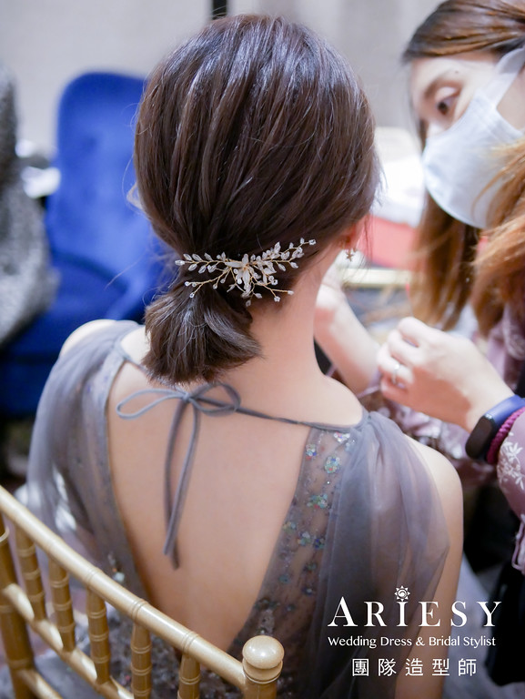 敬酒髮型,馬尾造型,台北新秘,短髮新娘,新娘妝感
