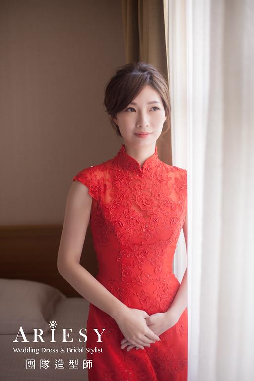 文定髮型,編髮造型,台北新秘,新娘妝感,旗袍造型