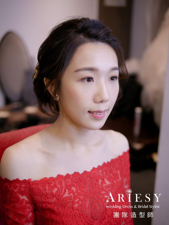 文定髮型,紅色禮服造型,新秘,編髮造型,新娘髮型