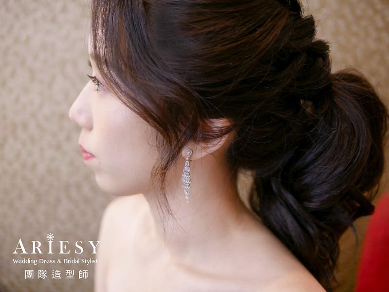 敬酒髮型,馬尾造型,藍色禮服造型,新娘秘書,新娘編髮