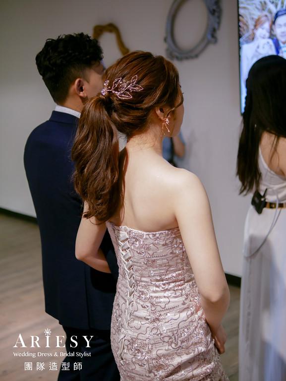 敬酒髮型,新娘秘書推薦,新娘髮型,馬尾造型,花耳環