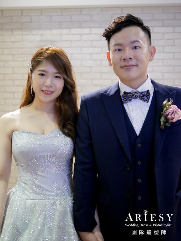 送客髮型,韓式造型,銀色禮服造型,新娘放髮造型,台北新秘