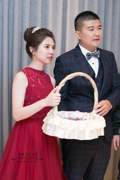 韓風送客造型,紅色禮服送客,愛瑞思,ARIESY,新秘推薦,新娘秘書,愛瑞思ARIESY婚紗禮服