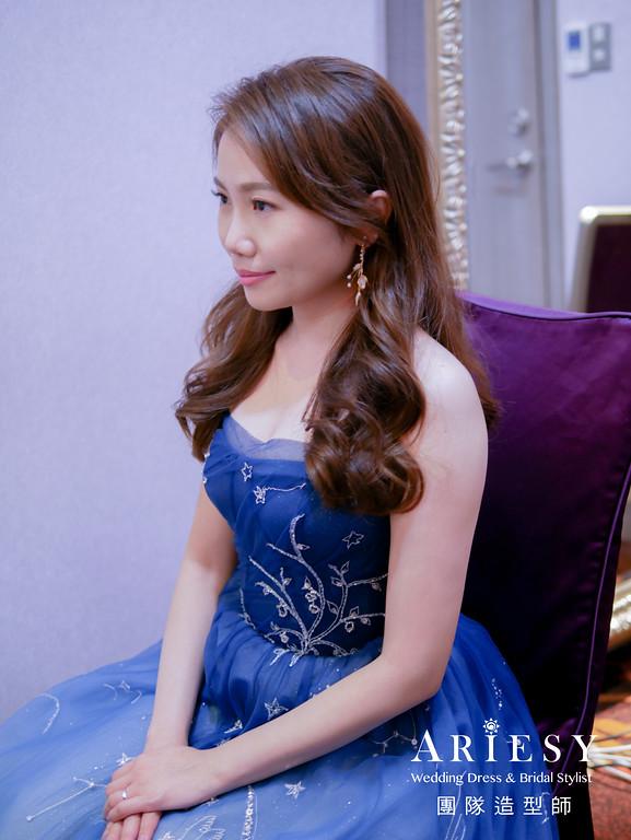 送客髮型,放髮造型,新娘自然妝,深藍色禮服造型,新娘髮型