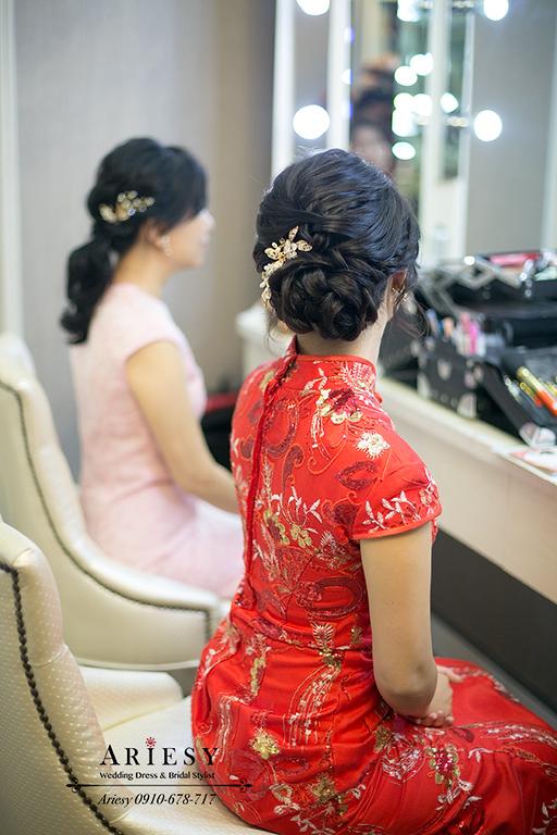 黑髮新娘,台北新秘,單眼皮新娘秘書,愛瑞思,ARIESY,文定旗袍髮型