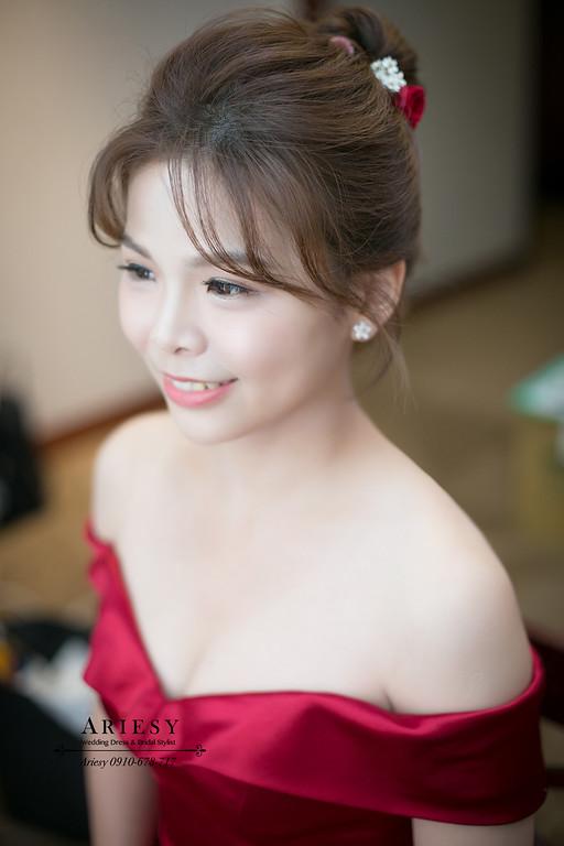 ARIESY新秘,愛瑞思新娘秘書,自然立體修容光澤肌,紅色禮服,鮮花新娘髮型