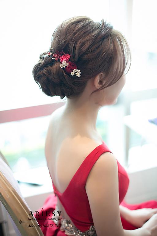 鮮花造型,新娘秘書 ,ariesy新秘,文定髮型,紅色禮服造型,台北新秘