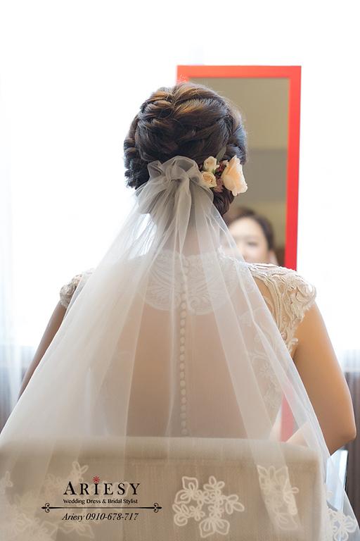 歐美風新娘秘書,新秘,愛瑞思,ARIESY,台北新秘,氣質新娘造型,白色旗袍