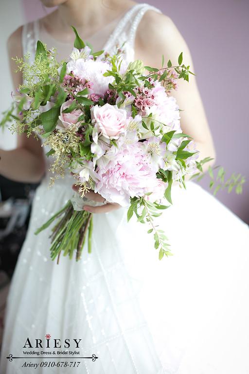 鮮花新秘,歐美風,粉紅色牡丹,新娘捧花,Bridal bouquet