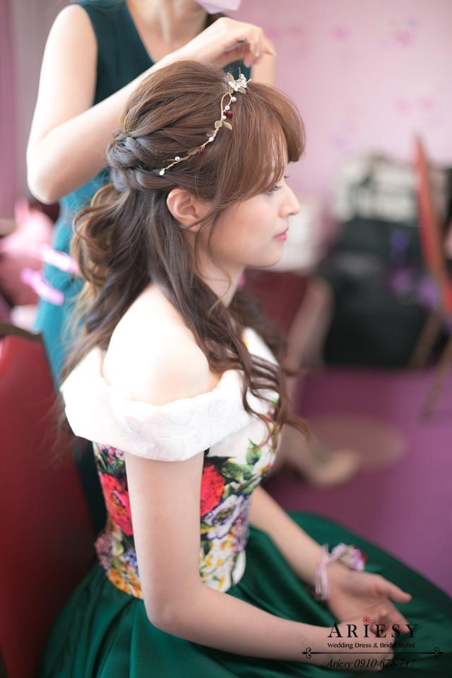 ariesy,台北新秘,新娘秘書,送客造型,歐美風牡丹捧花,自然輕透妝感
