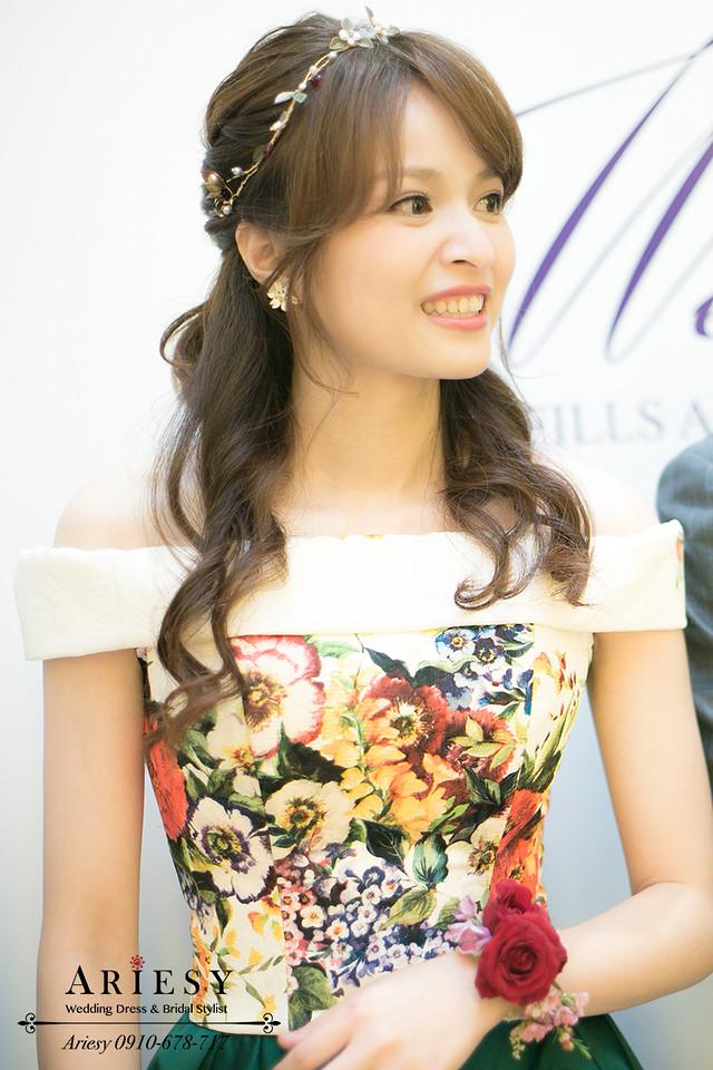 ariesy,台北新秘,花布禮服,新娘秘書,送客造型,歐美風牡丹捧花,自然輕透妝感