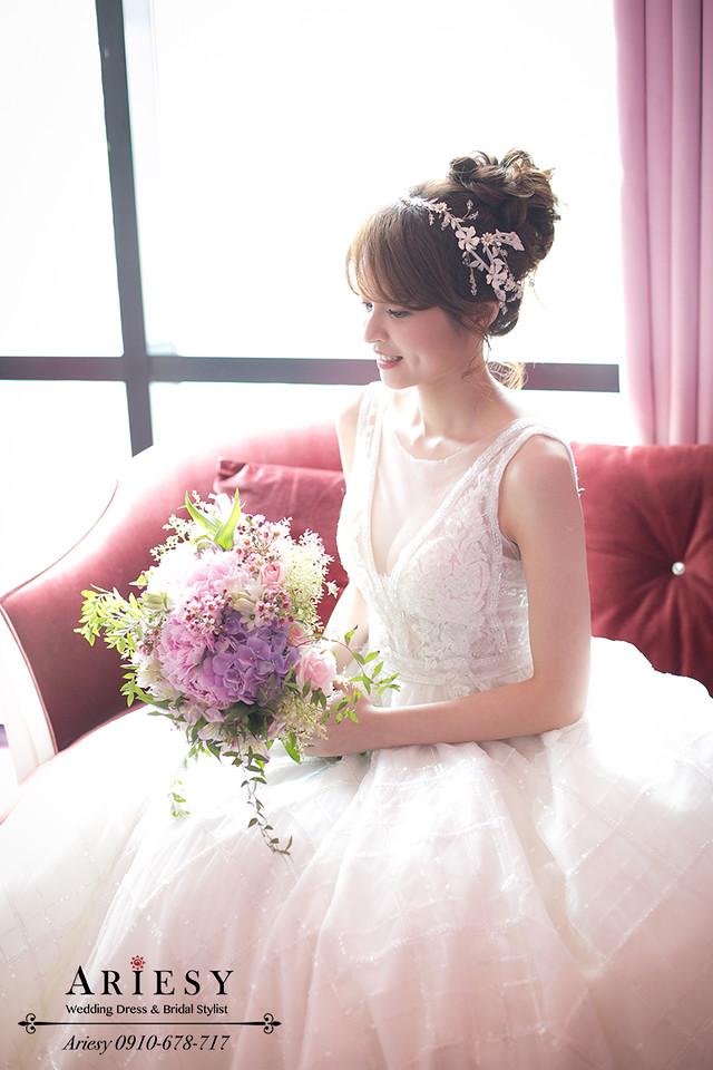 ariesy,台北新秘,新娘秘書造型,歐美風牡丹捧花,自然輕透妝感