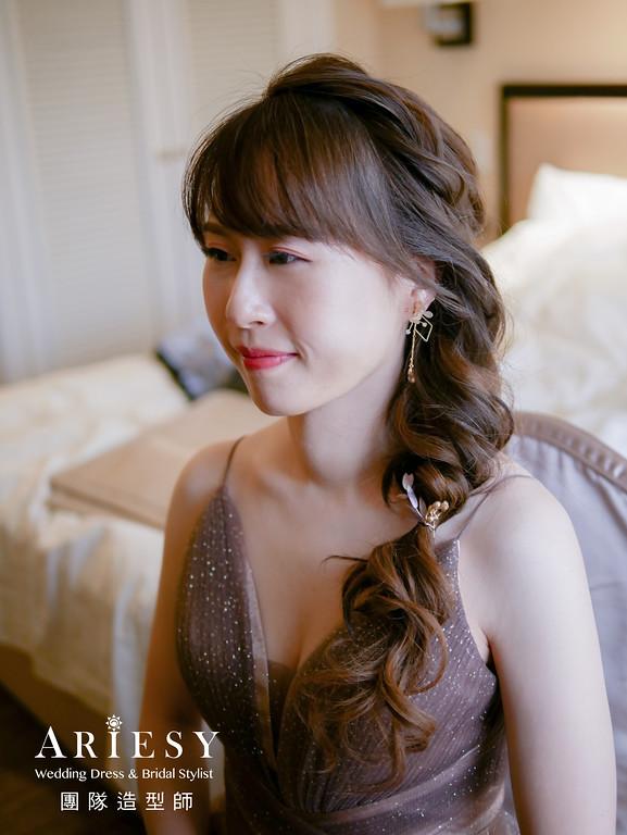 送客髮型,編髮造型,新娘編髮,手工花耳環,新秘花藝