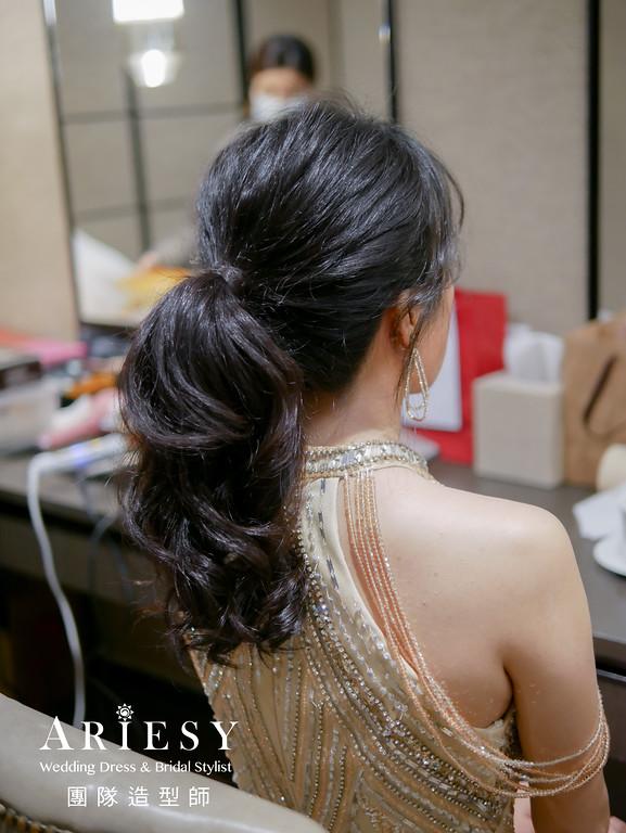 敬酒髮型,馬尾造型,台北新秘,新娘黑髮造型,新娘妝