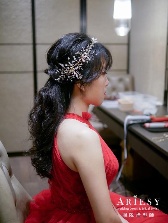 送客髮型,公主頭造型,新娘造型,黑髮新娘,新娘髮型