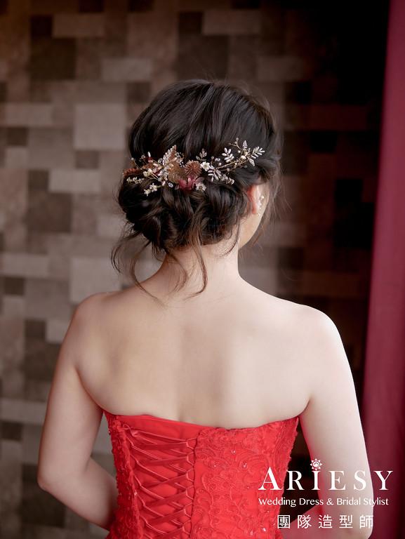 文定髮型,紅色禮服造型,台北新秘,新娘編髮,新秘花藝