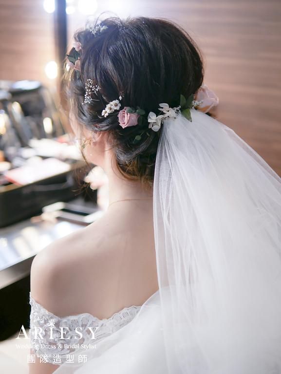 進場髮型,自然編髮造型,新秘花藝,自然精緻妝感,新秘推薦