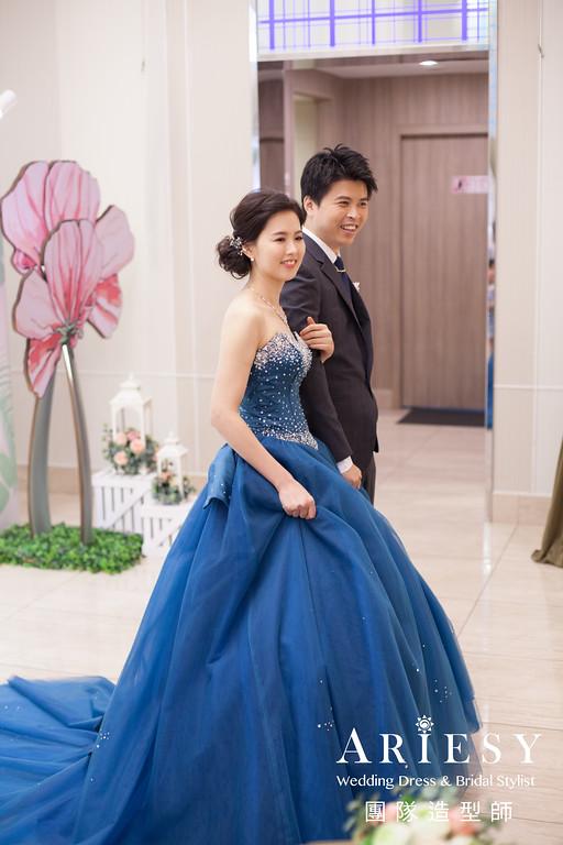 寶藍色禮服造型,敬酒髮型,新秘推薦,甜美時尚造型,編髮造型