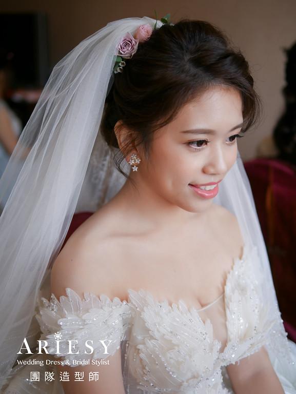 迎娶造型,新娘編髮,新秘花藝,新娘鮮花造型,白紗造型