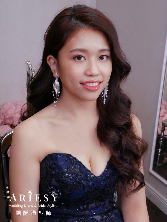 送客髮型,新娘名媛造型,深藍色禮服造型,新娘精緻妝感,歐美風格