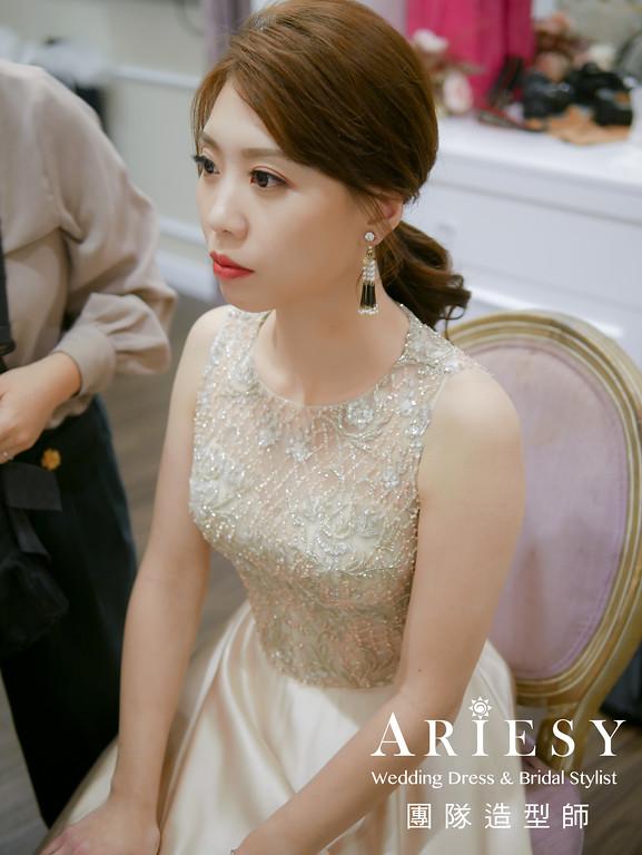 送客造型,時尚造型,新秘推薦,金色禮服造型,新娘妝