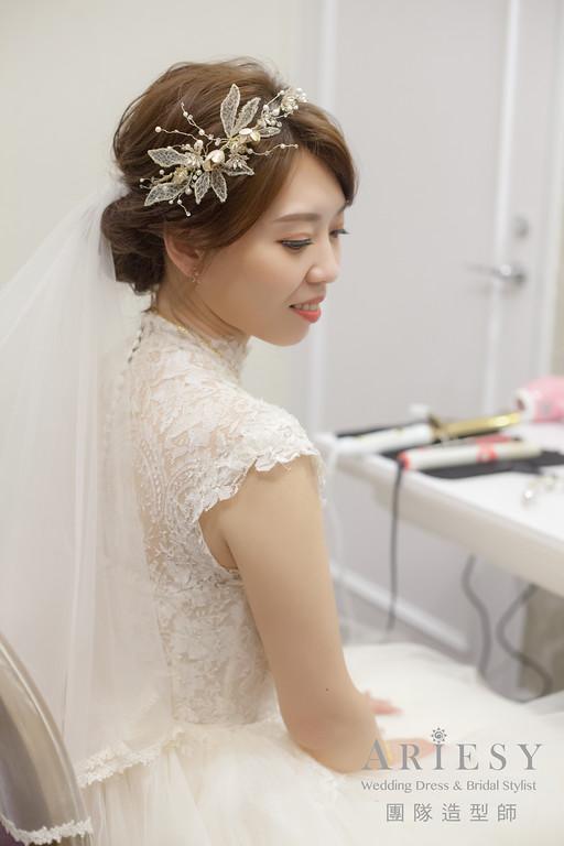 迎娶造型,新娘造型,蓬鬆盤髮,新娘髮型,台北新秘推薦