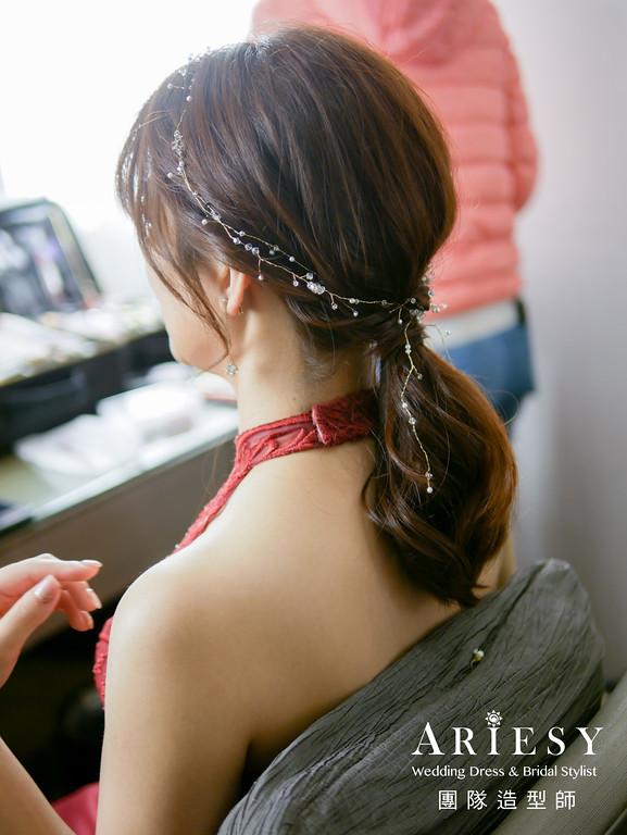 敬酒造型,紅色禮服造型,新秘推薦,馬尾造型,新娘整體造型