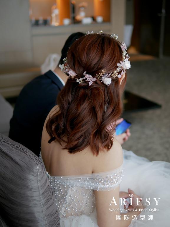進場造型,新秘花藝,公主頭造型,不凋花花圈,白紗髮型
