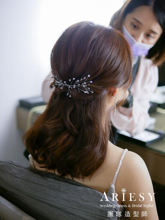送客造型,公主頭造型,銀色禮服造型,新娘髮型,簡約氣質新娘造型
