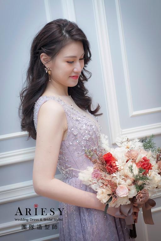 桃園新祕,新娘秘書,新娘造型,名媛風,蓬鬆編髮,敬酒造型,新娘髮型,婚宴造型,皇家薇庭婚宴
