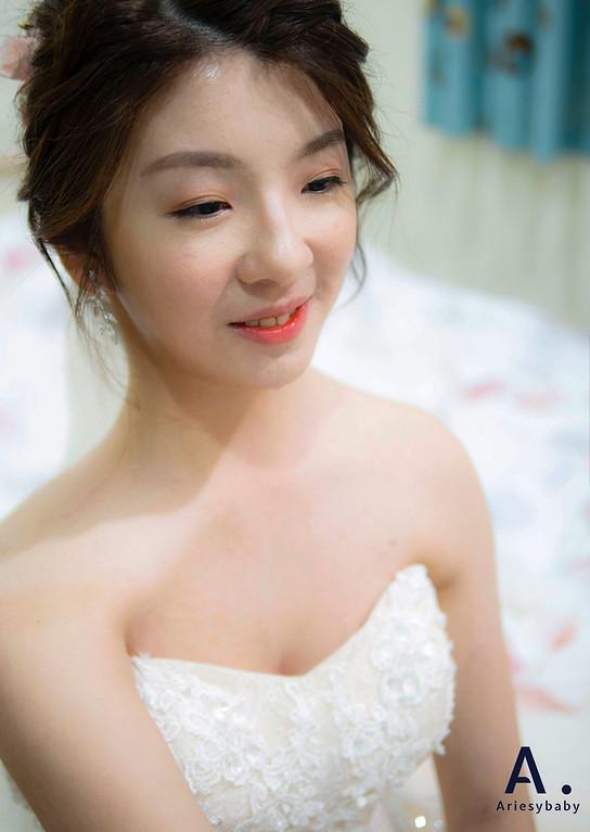 新祕,Ariesybaby造型團隊,甜美新娘,花藝造型,韓系清透妝感