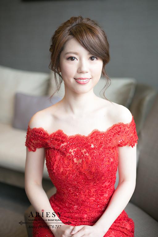 台北新秘,新秘造型,文定造型,ariesy,紅色禮服造型