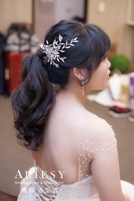 台北新祕,新娘秘書,新娘造型,編髮造型,馬尾造型,自然清透妝感,新娘髮型,送客造型,黑髮新娘,類白紗