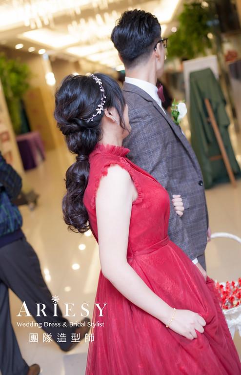 台北新祕,新娘秘書,新娘造型,編髮造型,馬尾造型,自然清透妝感,新娘髮型,敬酒造型,黑髮新娘