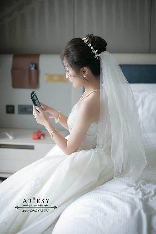 新娘秘書,新秘,台北新秘推薦,中短髮新娘造型,空氣八字瀏海,愛瑞思,ARIESY