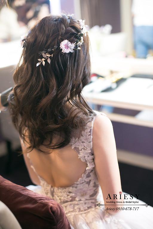 送客鮮花新娘髮型,新秘,台北新秘推薦,愛瑞思,ARIESY,新娘秘書