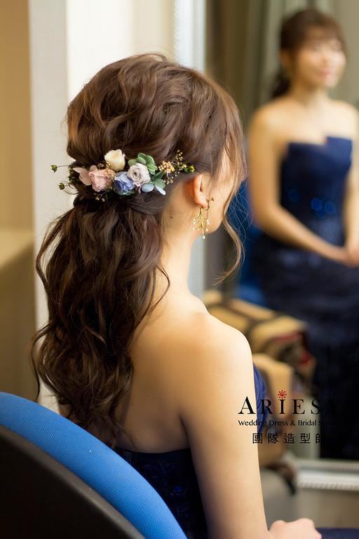 新秘,花藝造型,短髮盤髮造型,新娘妝感,短髮接髮造型