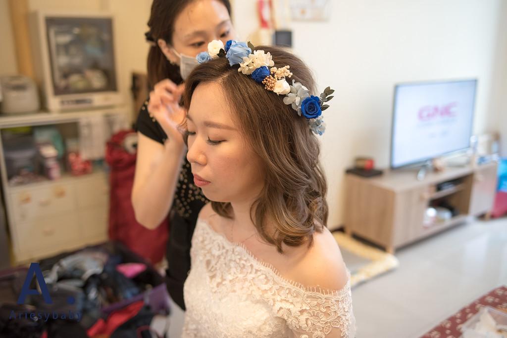 新秘,白紗造型,文定造型,短髮造型,花藝造型