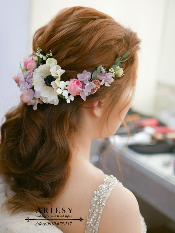 ARIESY,鮮花新秘,鮮花造型,鮮花編髮,鮮花新娘秘書,裸色婚紗,裸色禮服造型