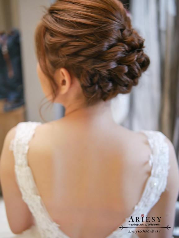 迎娶新娘造型,新秘作品,歐美風編髮,頭紗造型,愛瑞思
