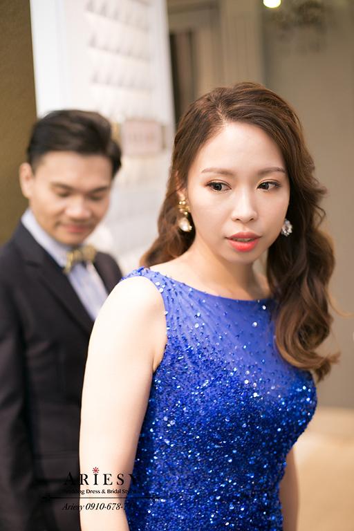 新秘,新莊晶宴,名媛髮型,寶藍色禮服,時尚新娘造型,新娘秘書