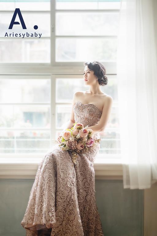 禮服出租,婚紗禮服工作室,新莊自助婚紗,手工婚紗,復古華麗風立體蕾絲晚禮服