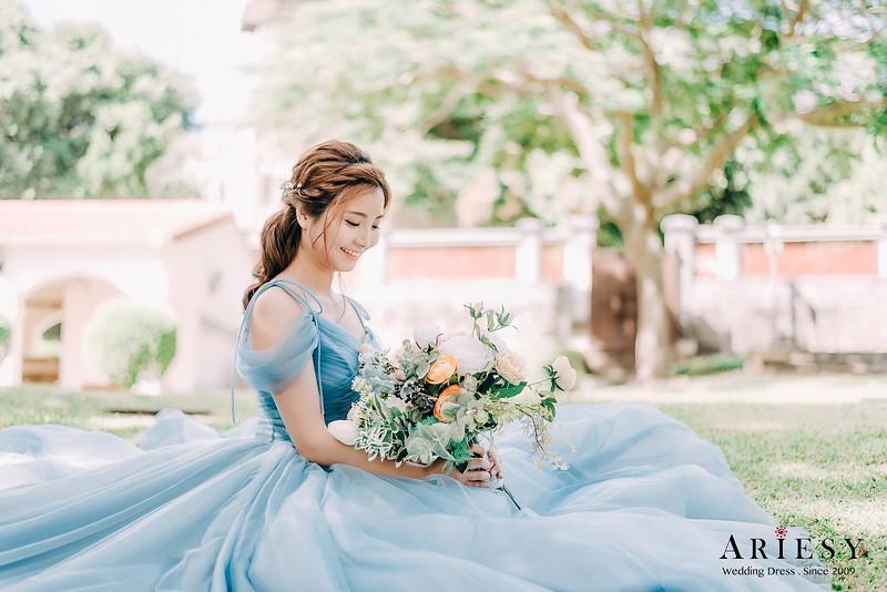 禮服出租,婚紗禮服工作室,新莊自助婚紗,手工婚紗,婚紗包套,清新素紗晚禮服,莫蘭迪藍色晚禮服